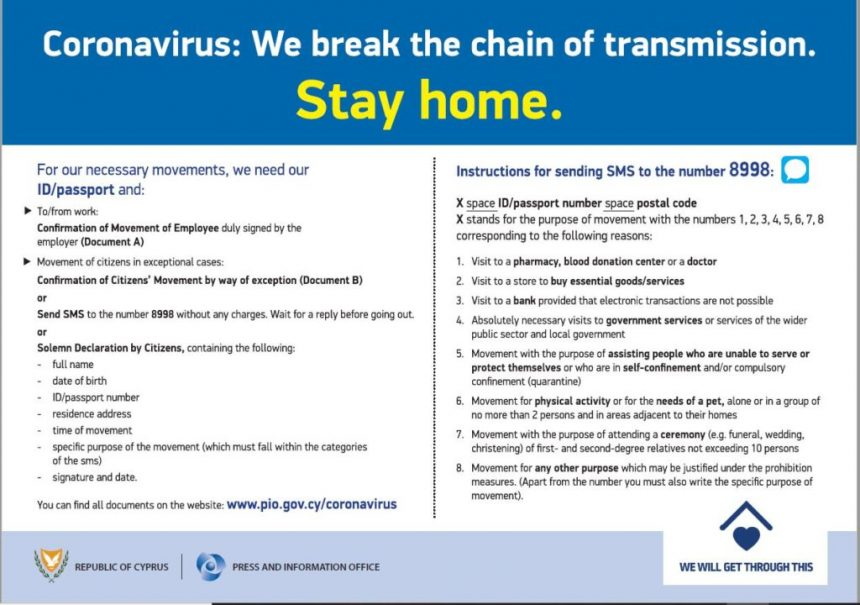 CoronaVirus COVID-19: New Measures to contain the spread in Cyprus (Key Points translated in EN, FR, SO, AR)