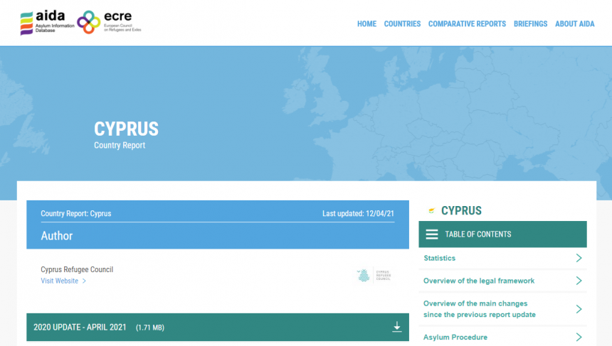 AIDA Country Report Cyprus – Update on the year 2020
