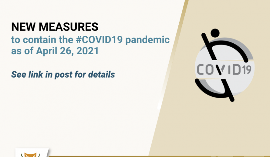 Changes to measures to combat the spread of COVID-19, from 10 – 31 May 2021